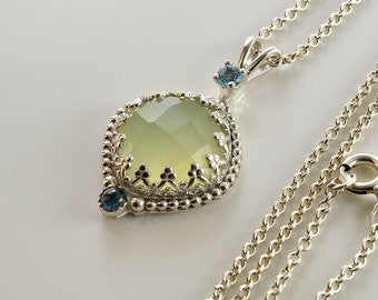 Green Chalcedony Pendant in Sterling Silver, Faceted Rose Cut Light Green Chalcedony -Prehnite color- Stone Pendant