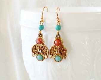 Turquoise and Pink Pastel Upcycled Filigree Earrings . Treasure Box