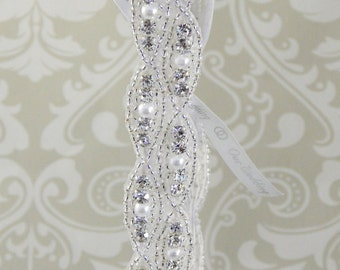PEARL and CRYSTAL Rhinestone Wedding Garter, Bridal Garter with Silver Beads and 'Our Wedding' Satin Ribbon