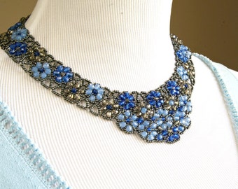 Beadwoven Blue Bib Necklace, Crystal Flower Beaded Necklace, Beadwork Collar Necklace