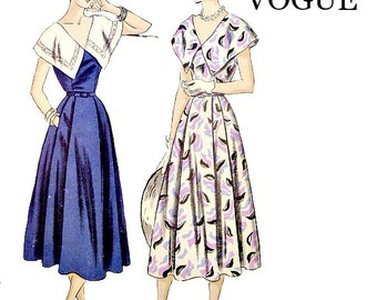 1940's Vintage One Piece Dress Pattern Size 14 Bust 32 Wide Cape Collar Vogue 6346 Sewing Pattern V Neckline Non Printed Factory Folds