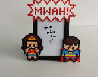 Superman and Wonder Woman Picture Frame - Nerdy/Geeky Couples Picture Frame - Comic Book Picture Frame - Superman Picture Frame