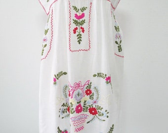 Embroidered Mexican Dress Sleeveless Cotton Tunic In White, Boho Hippie Dress