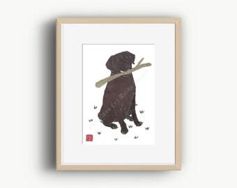 Chocolate Lab Art, Matted Print, Dog Portrait, Chocolate Labrador Retriever, Chocolate Lab Gifts