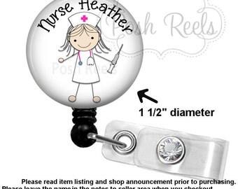 Retractable Badge Holder - Stick Nurse Badge Reel  - Nurse Badge Holder, Carabiner, Stethoscope ID Tag or Lanyrad - 1168