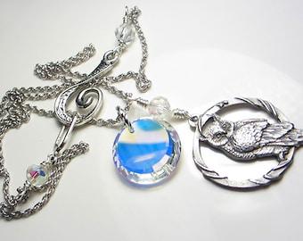 Silver Owl Necklace Owl Jewelry Swarovski Aurora Borealis Crystal AB Necklace Wisdom bird Necklace Woodland Owl Pendant Necklace Gift