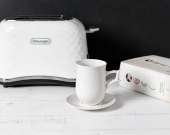 Ceramic Coffee Mug, Porcelain, White, Coffee Latte Mug with Saucer, Ceramics and Pottery 100% Handmade by Barceramics