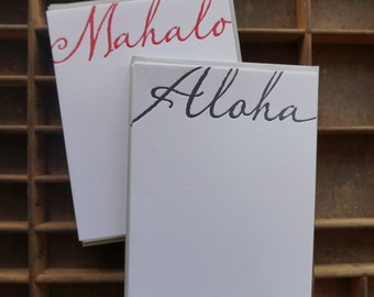 Letterpress Script Aloha or Mahalo Note Cards - Set of 6