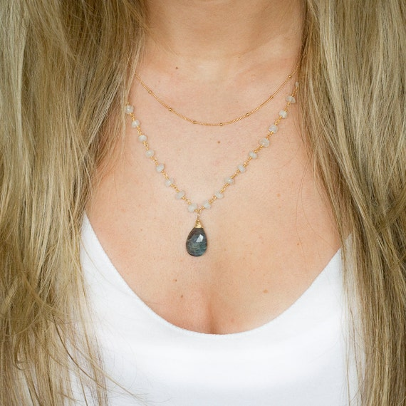 Labradorite Pendant on Moonstone Rosary Pendant Layer Necklace
