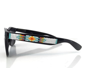 Polarized Sunglasses, Beaded Sunglasses, White Navajo-Inspired Sunglasses, Wayfarer Sunglasses, Ray Ban Style, Unique Gift, Summer Accessory