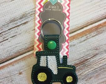 Green Tractor Keychain - Farmer Keychain - Farm Keychain - Farmer Key Chain - Tractor Keychain