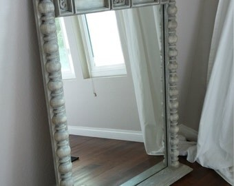 SOLD---------------------------------------Gorgeous Antique Solid Wood Grey Mirror-Hand Painted Ornate French Country, Shabby Chic Mirror