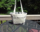 Black Filigree Print on Cream Bucket Bag