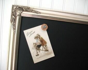 MAGNETIC CHALKBOARD Silver Leaf Ornate Framed Wedding Prop Kitchen Blackboard Wood Frame Restaurant Menu Chalk Board Magnet Memo Decor - #13