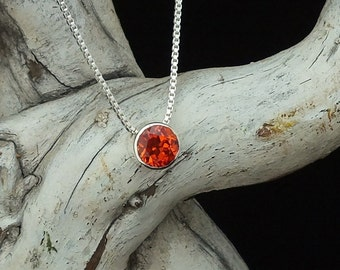 "Padparadscha Sapphire floating pendant necklace, bezel set 8mm Lab created Stone, Sterling silver on 18"" Sterling box chain, Free shipping"