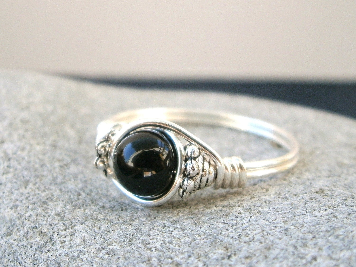 black onyx ring silver ring custom sized black onyx silver