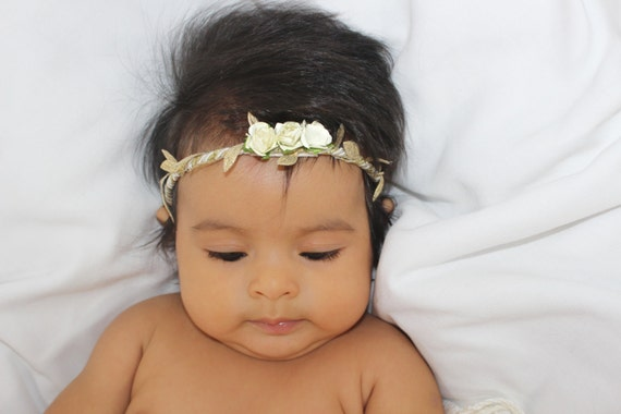 Grecian Headpiece, Ivory Baby Headband, Gold Headpiece, Gold Headband, Baby Flower Headband, Infant Headbands, Baby Headband
