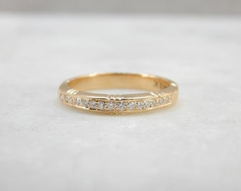 Vintage Gold Band Updated With Fresh Diamonds 72XRRJ-R
