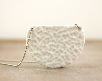 White minimalistic necklace, textured pendant, half circle geometric clay jewelry