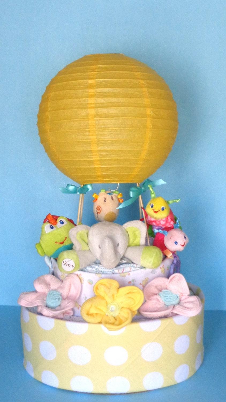 custom order hot air balloon diaper cake. Black Bedroom Furniture Sets. Home Design Ideas