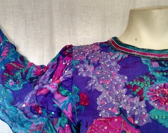 Vibrant Floral Beaded Blouse