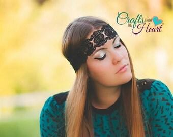 Black Lace Bohemian Headband - Boho Headband - Bohemian Headband - Flapper Headband - Forehead Headband - Hippie Headband - Halo Headband
