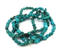 Turquoise Strand, Blue Green Turquoise Nugget Beads, Earthy Jewelry Supplies, Item 155b-gs