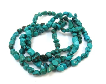 Genuine Turquoise Beads, Blue Green Turquoise Nugget Beads, 15 inch Strand, Earthy Jewelry Supplies, Item 155b-gst