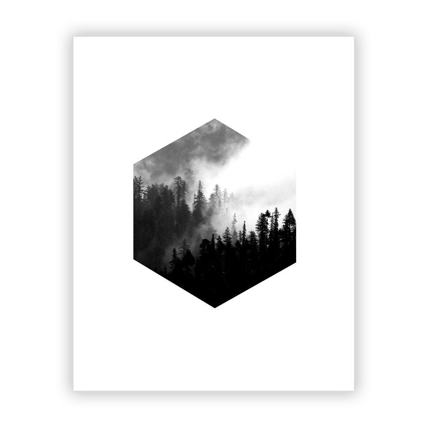 minimalistische grafik art print hexagon wald skandinavischen. Black Bedroom Furniture Sets. Home Design Ideas