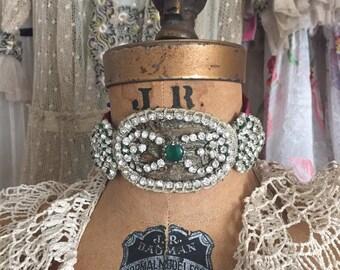 Authentic Antique Victorian Jewelry / Costume Accessories  / Flapper Headband / Metallic Lace / Rhinestones  / One Size