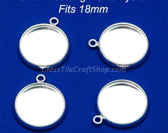 10pk Bezel Charm Setting - 18mm Round Silver Tone Tray. (18M1EYE)