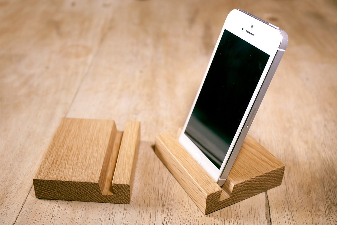 Wooden Phone Stand ~ Wooden smart phone stand oak