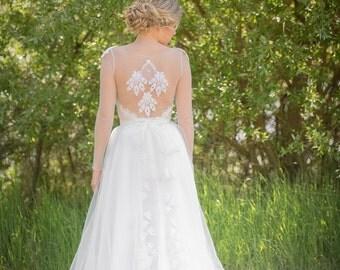 SALE 30% off- Noemi unique wedding dress boho vintage inspired sleeved dress lace back detail