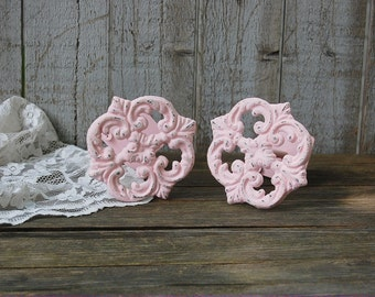 Drapery Tie Backs, Shabby Chic, Pink, Curtain Tie Backs, Tiebacks, Drapery Holders, Hand Painted, Distressed, Cast Iron, Metal, Nursery