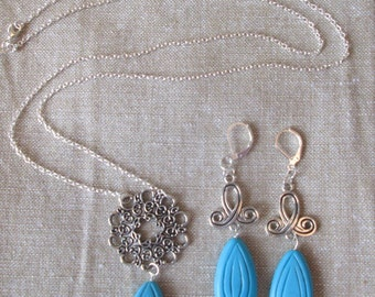 Sterling Silver Turquoise Necklace and Earring Set by The Darling Duck