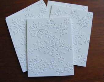 Snowflake Card Set, White Embossed Christmas Card Set, Snowflake Christmas Cards, Holiday Card Set, Boxed Christmas Cards, Snowflakes