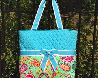 Baby Boy Blue Bird Paisley Quilted Diaper Bag with Blue Trim