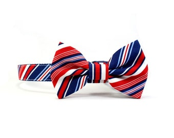 Red White Blue Striped Dog Bow Tie Collar 4th of July Patriotic Dog Bowtie  - Brady