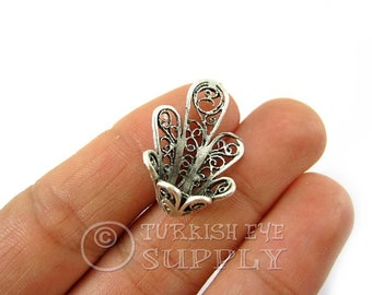 Set of 3 pc Filigree Bead Caps, Antique Silver Plated BeadCaps, Turkish Jewelry
