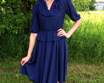 Vintage Navy Blue Polka Dot Peplum Dress-SMALL