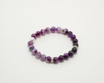 Agate bracelet, plum agate, polished agate, plum bracelet, stone bracelet, beaded bracelet, semi-precious stones, natural stone bracelet