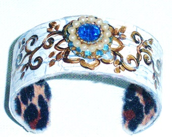 Boho Gypsy Cuff Bracelet Hand Painted Funky Bohemian Jewelry FREE SHIPPING