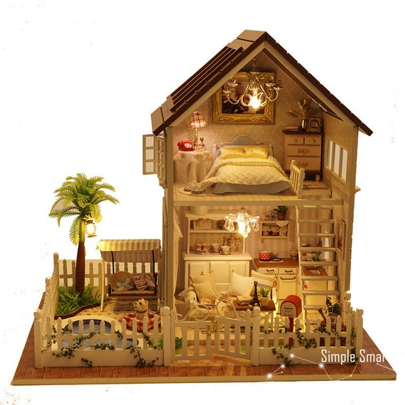 miniature dollhouse diy kit paris apartment with led light