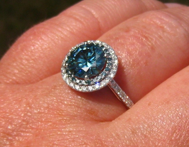 Blue Moissanite Engagement Ring Blue Moissanite In Diamond