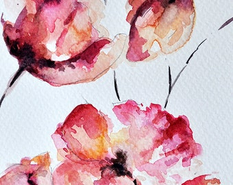 ORIGINAL Watercolor Flower Greeting Card, Red Poppy Painting, Floral Art 4x6 inch