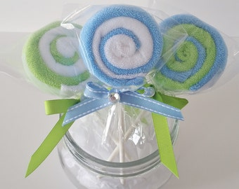 Washcloth Lollipops, Baby Washcloth Gift, Baby Boy Shower Favors,  New Mom Gift, New Baby Gift, Set of 3, Blue and Green Burp Cloth Gift
