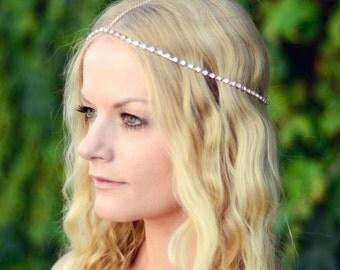 THE SYDNEY - Gold Rhinestones Crown Gypsy Hair Chain Crystal Diamond Jewelry Boho Wedding Headpiece Hippie Cleopatra Summer Spring Christmas
