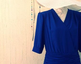 Vintage dress-80s glam dress-party dress-80s dress-blue dress-blue vintage-klein blue-vintage-dress-retro dress