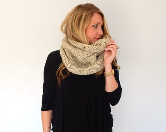Chunky Knit Crochet Cowl - Knit Scarf - Neck Warmer - Chunky Snood - THE COMMUTER - Custom Colors Rolled Neck Soft Wool Blend