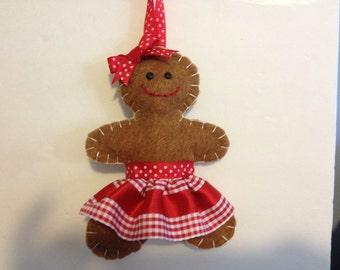 Felt Gingerbread Girl/Lady Christmas Ornament